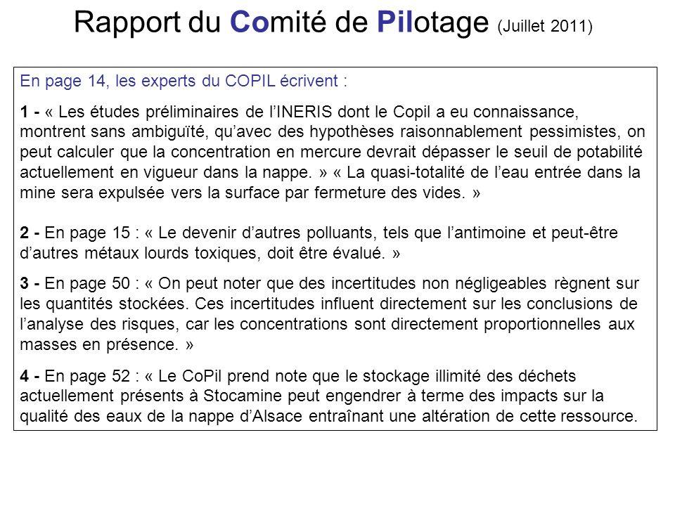 Rapport du Comité de Pilotage (Juillet 2011)