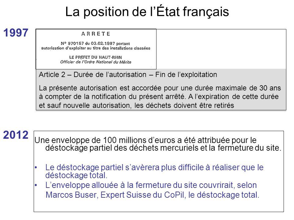 La position de l'État français