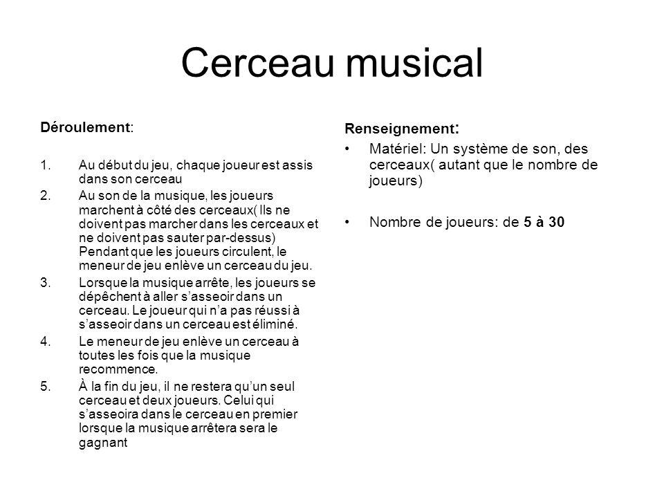 Cerceau musical Déroulement: Renseignement: