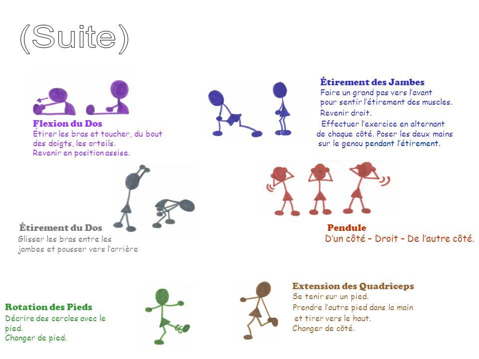 (Suite) Étirement des Jambes. Faire un grand pas vers l'avant. pour sentir l'étirement des muscles.