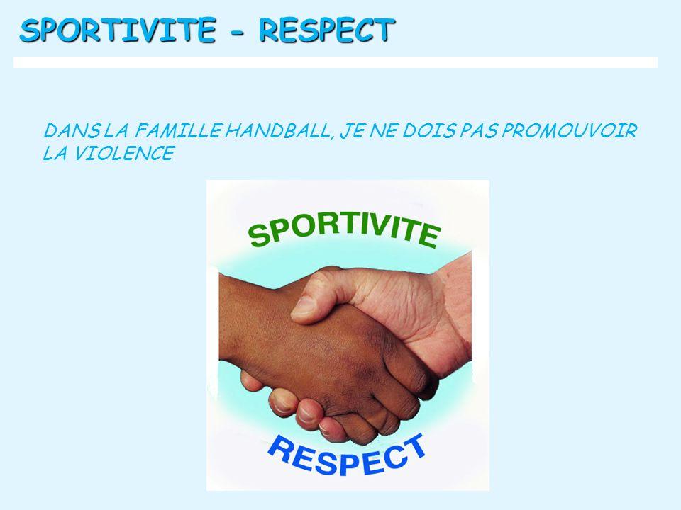 SPORTIVITE - RESPECT DANS LA FAMILLE HANDBALL, JE NE DOIS PAS PROMOUVOIR LA VIOLENCE