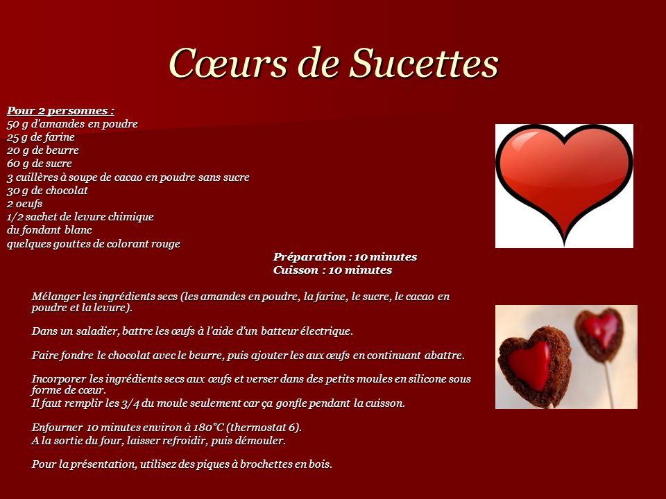 Cœurs de Sucettes Pour 2 personnes : 50 g d amandes en poudre