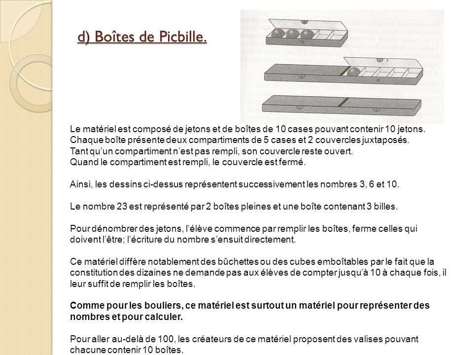 d) Boîtes de Picbille. Le matériel est composé de jetons et de boîtes de 10 cases pouvant contenir 10 jetons.