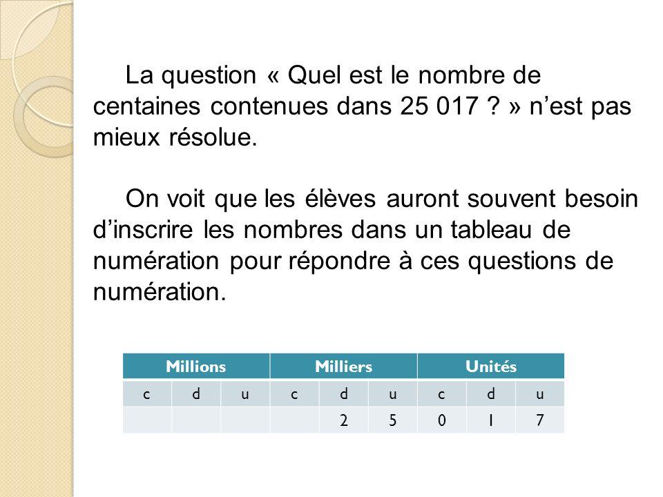 La question « Quel est le nombre de centaines contenues dans 25 017