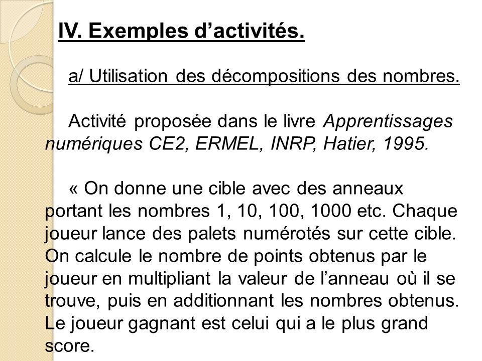 IV. Exemples d'activités.