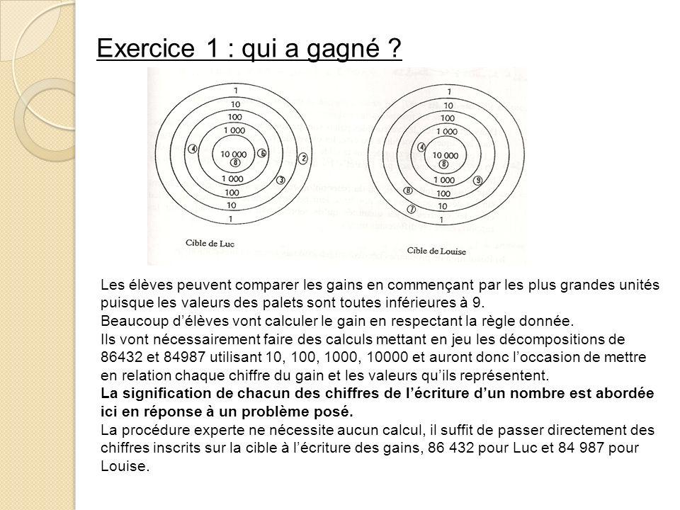 Exercice 1 : qui a gagné