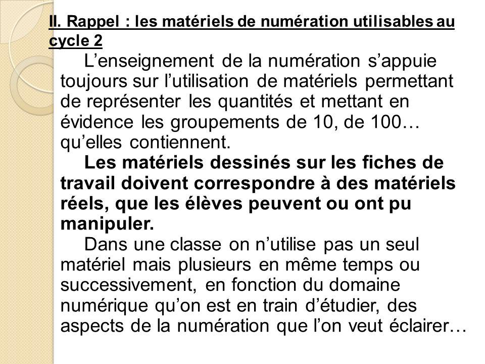II. Rappel : les matériels de numération utilisables au cycle 2