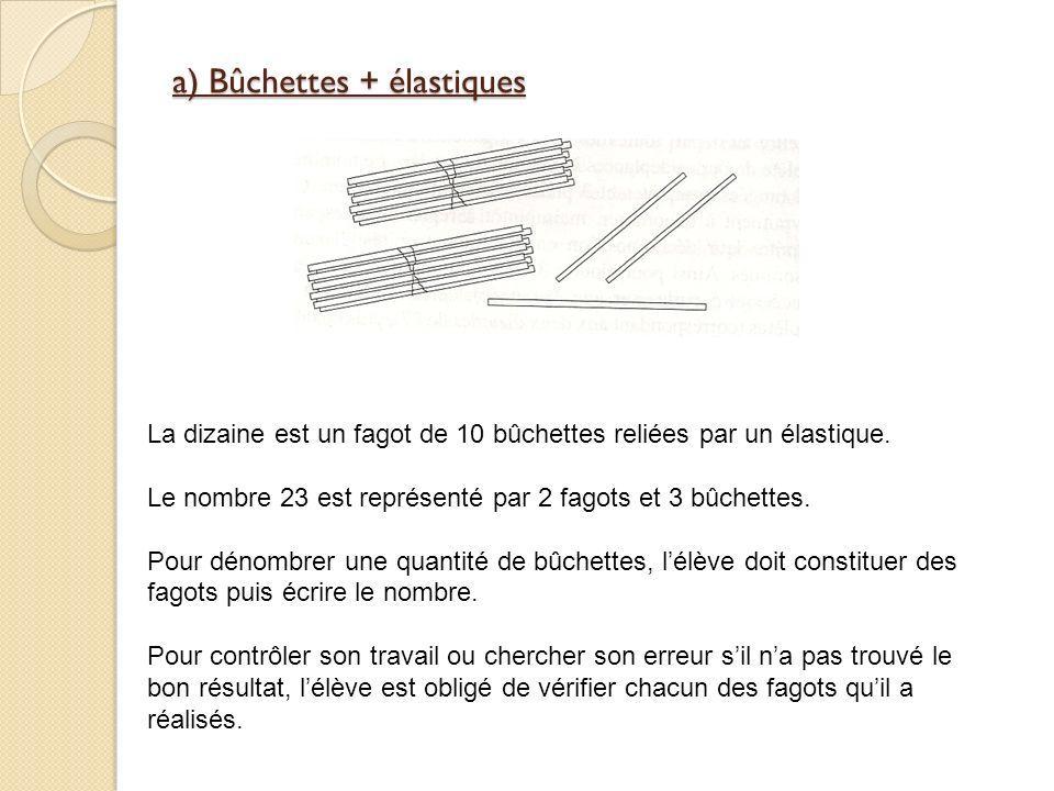 a) Bûchettes + élastiques