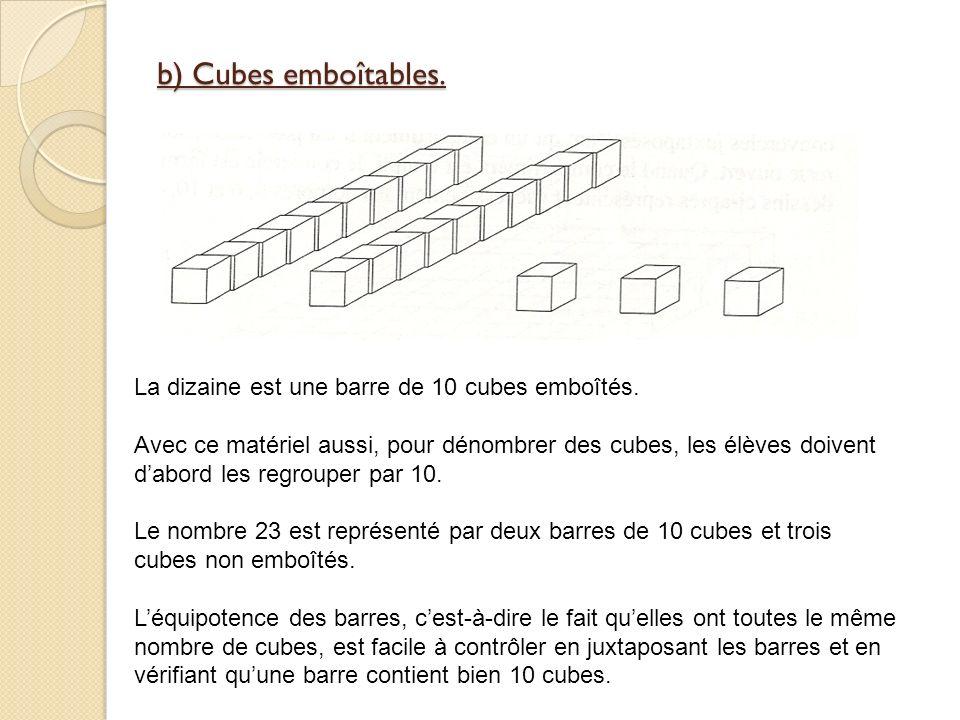 b) Cubes emboîtables. La dizaine est une barre de 10 cubes emboîtés.