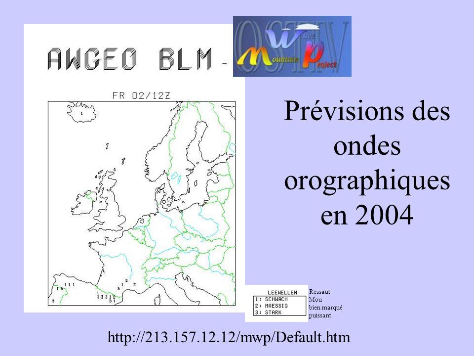 Prévisions des ondes orographiques en 2004