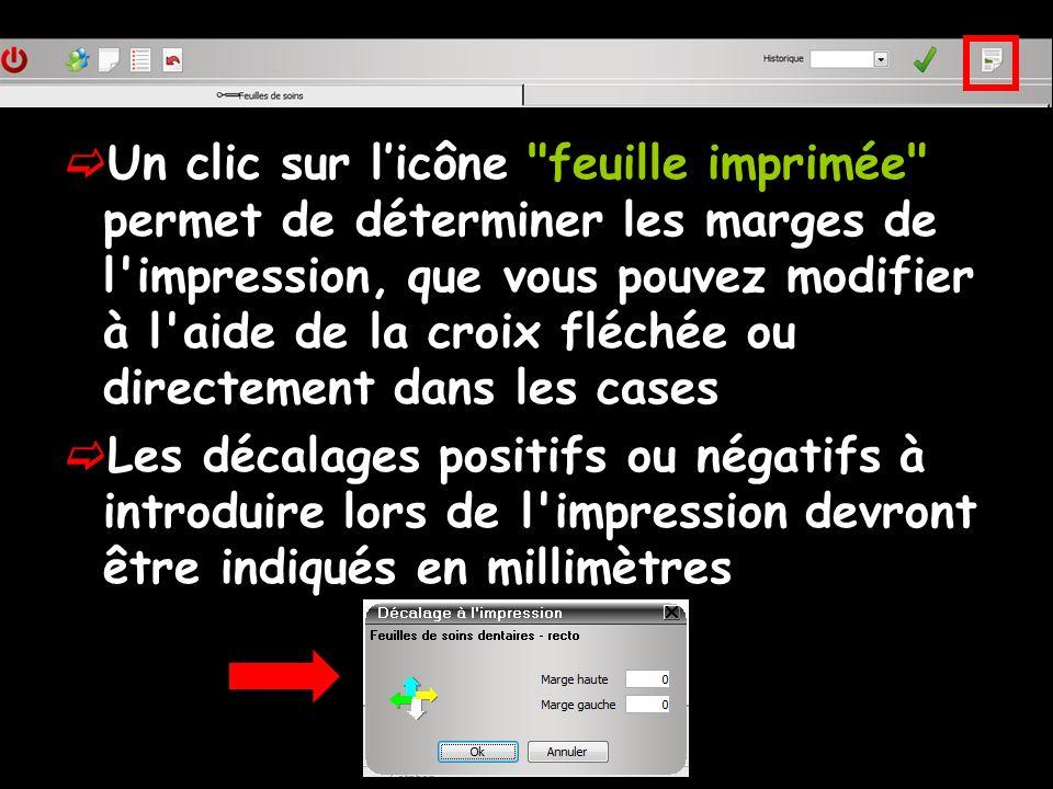 Un clic sur l'icône feuille imprimée permet de déterminer les marges de l impression, que vous pouvez modifier à l aide de la croix fléchée ou directement dans les cases