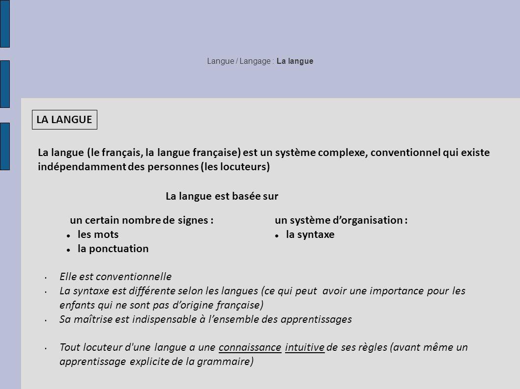 Langue / Langage : La langue