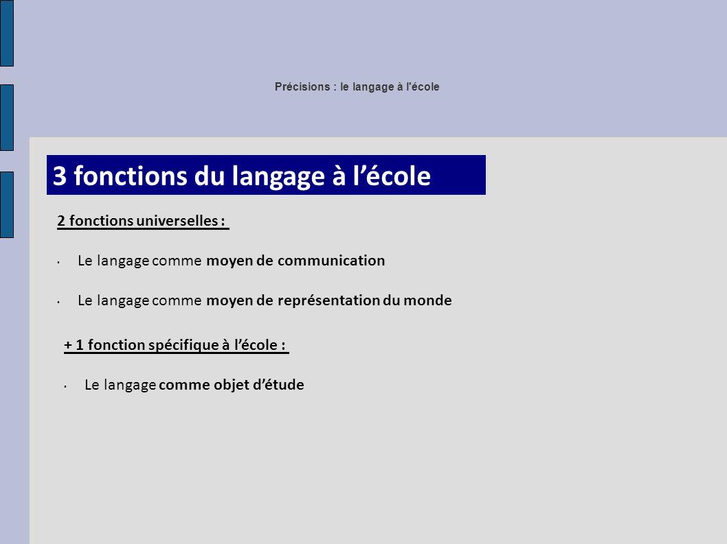 Précisions : le langage à l école