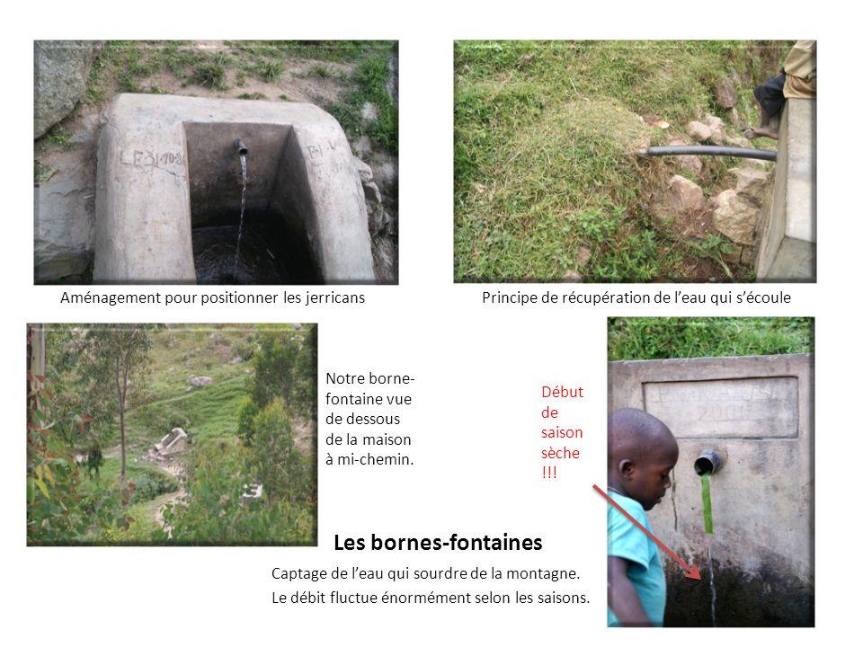 Les bornes-fontaines Aménagement pour positionner les jerricans