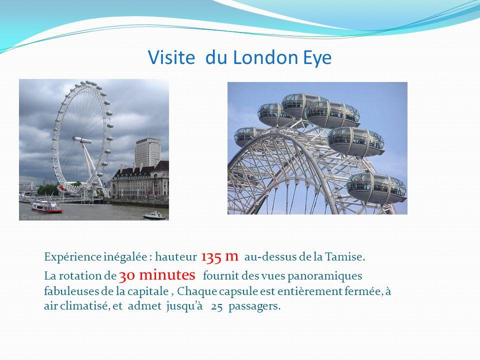 Visite du London Eye Expérience inégalée : hauteur 135 m au-dessus de la Tamise.