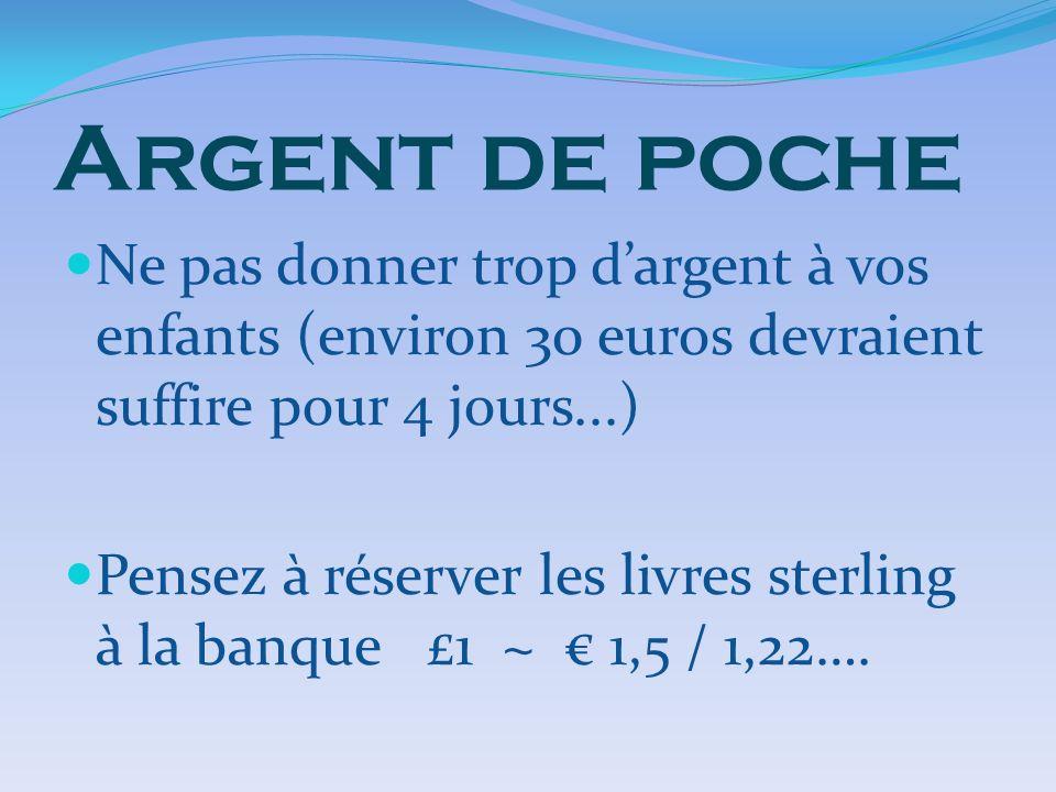 Argent de poche Ne pas donner trop d'argent à vos enfants (environ 30 euros devraient suffire pour 4 jours...)