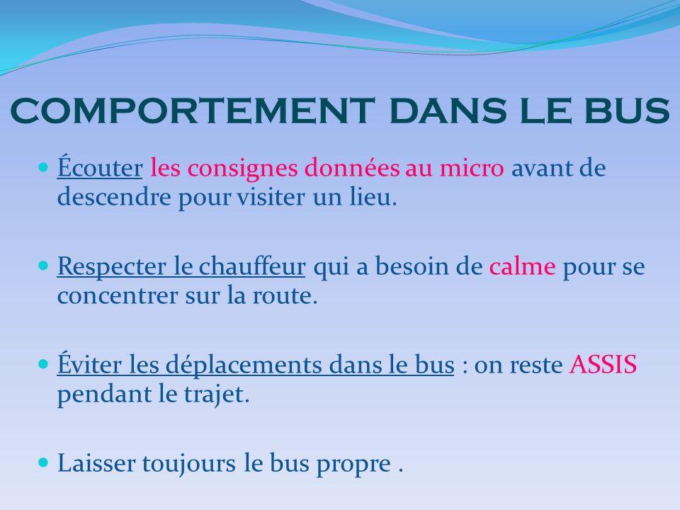 COMPORTEMENT DANS LE BUS