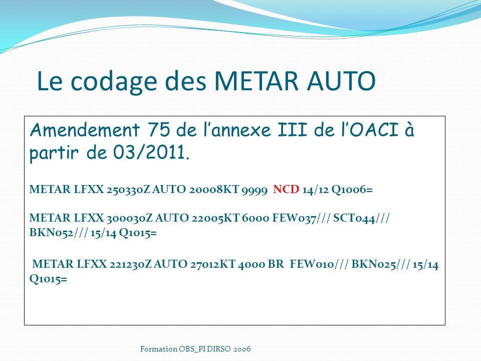 Le codage des METAR AUTO