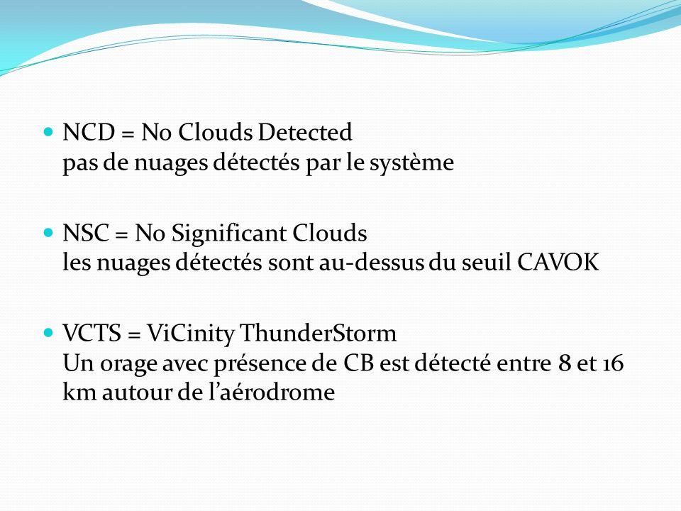 NCD = No Clouds Detected pas de nuages détectés par le système