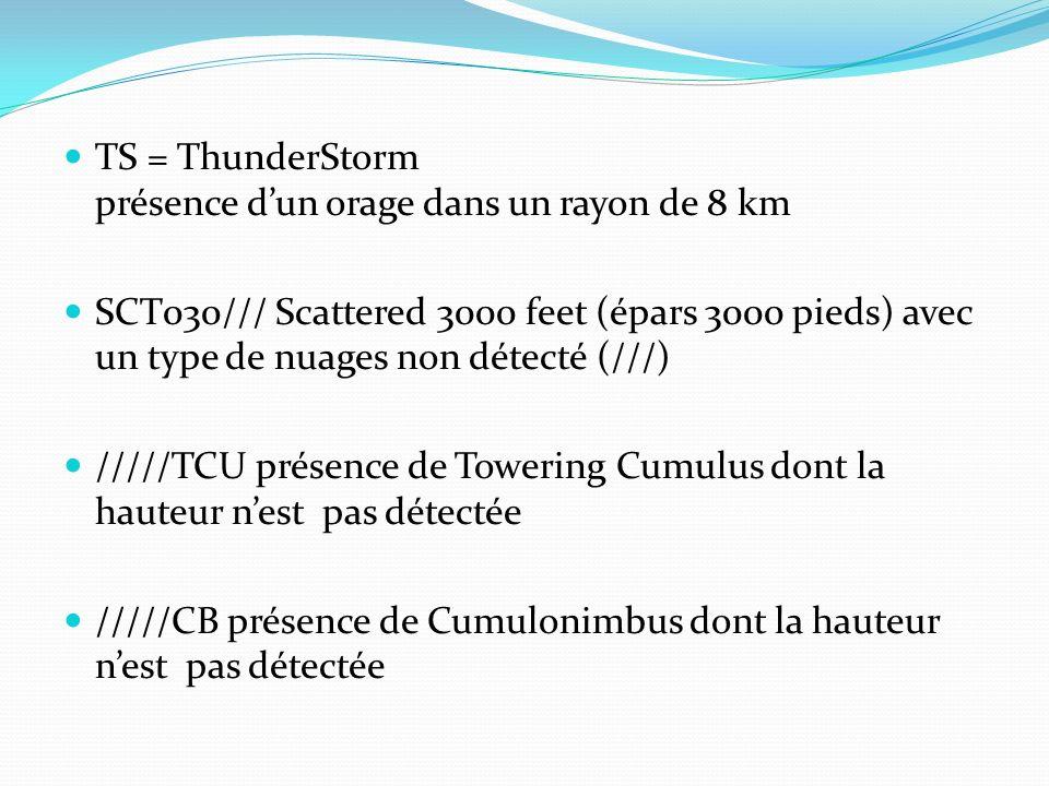 TS = ThunderStorm présence d'un orage dans un rayon de 8 km