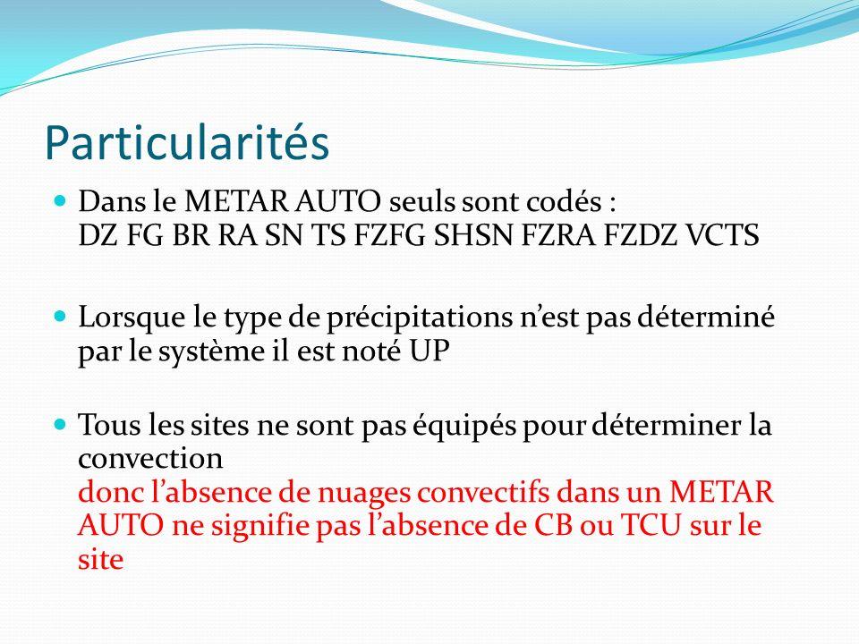 Particularités Dans le METAR AUTO seuls sont codés : DZ FG BR RA SN TS FZFG SHSN FZRA FZDZ VCTS.