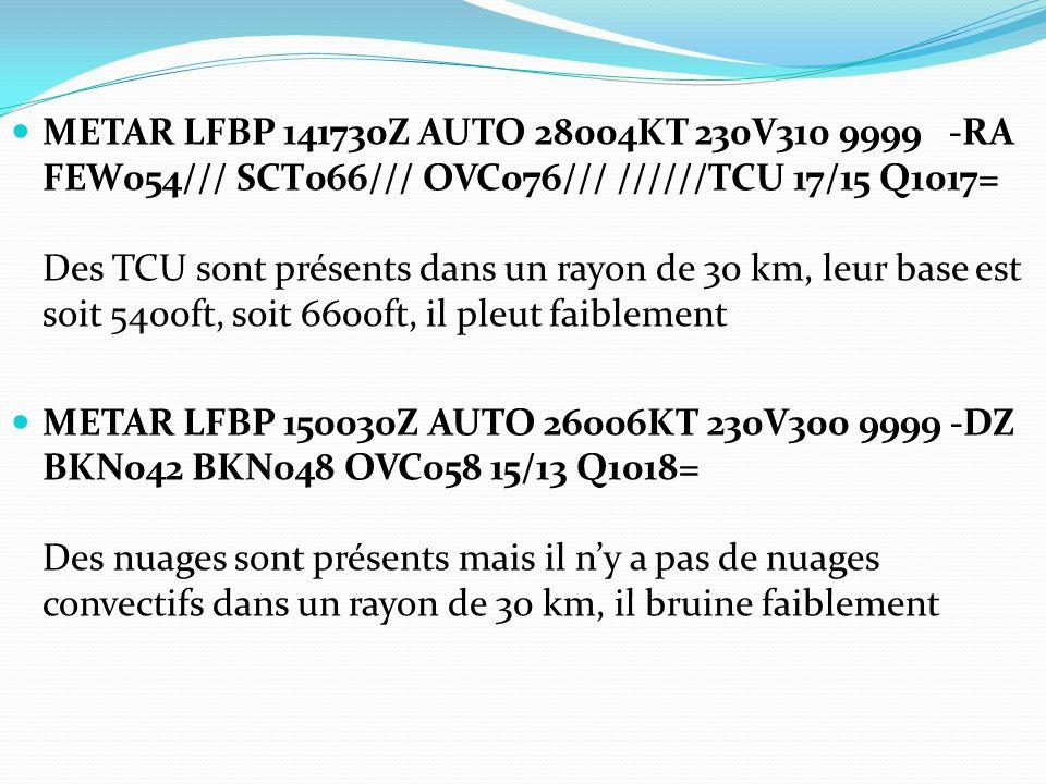 METAR LFBP 141730Z AUTO 28004KT 230V310 9999 -RA FEW054/// SCT066/// OVC076/// //////TCU 17/15 Q1017= Des TCU sont présents dans un rayon de 30 km, leur base est soit 5400ft, soit 6600ft, il pleut faiblement