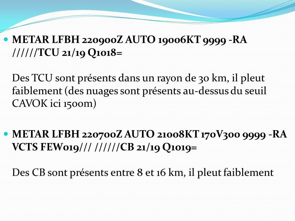 METAR LFBH 220900Z AUTO 19006KT 9999 -RA //////TCU 21/19 Q1018= Des TCU sont présents dans un rayon de 30 km, il pleut faiblement (des nuages sont présents au-dessus du seuil CAVOK ici 1500m)