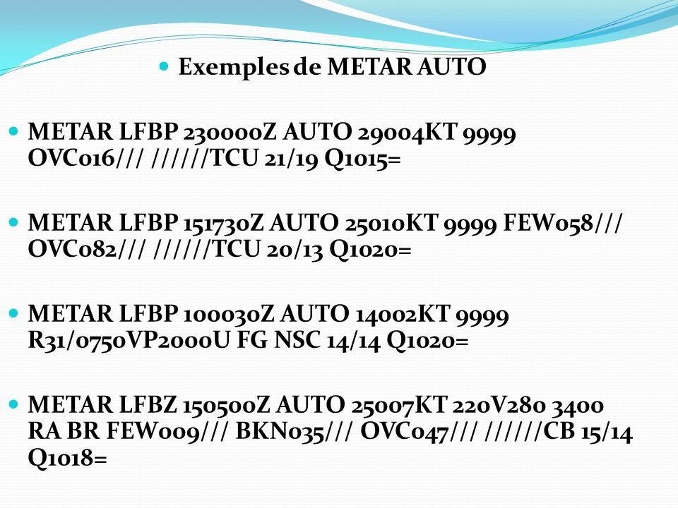 Exemples de METAR AUTO METAR LFBP 230000Z AUTO 29004KT 9999 OVC016/// //////TCU 21/19 Q1015=