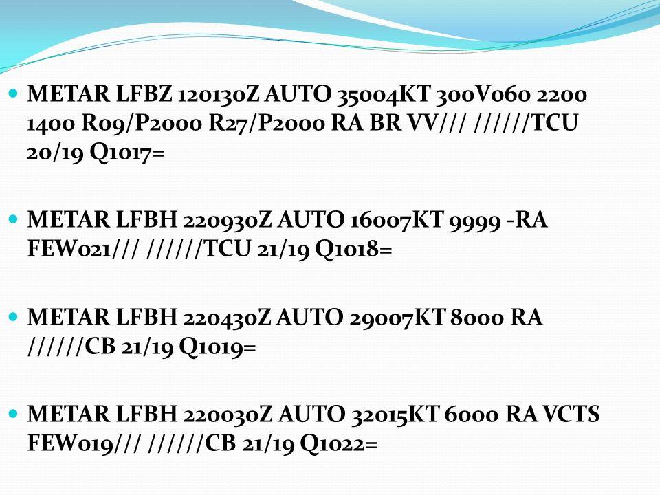 METAR LFBZ 120130Z AUTO 35004KT 300V060 2200 1400 R09/P2000 R27/P2000 RA BR VV/// //////TCU 20/19 Q1017=