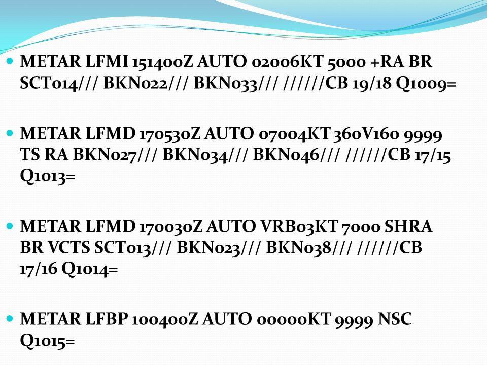 METAR LFMI 151400Z AUTO 02006KT 5000 +RA BR SCT014/// BKN022/// BKN033/// //////CB 19/18 Q1009=