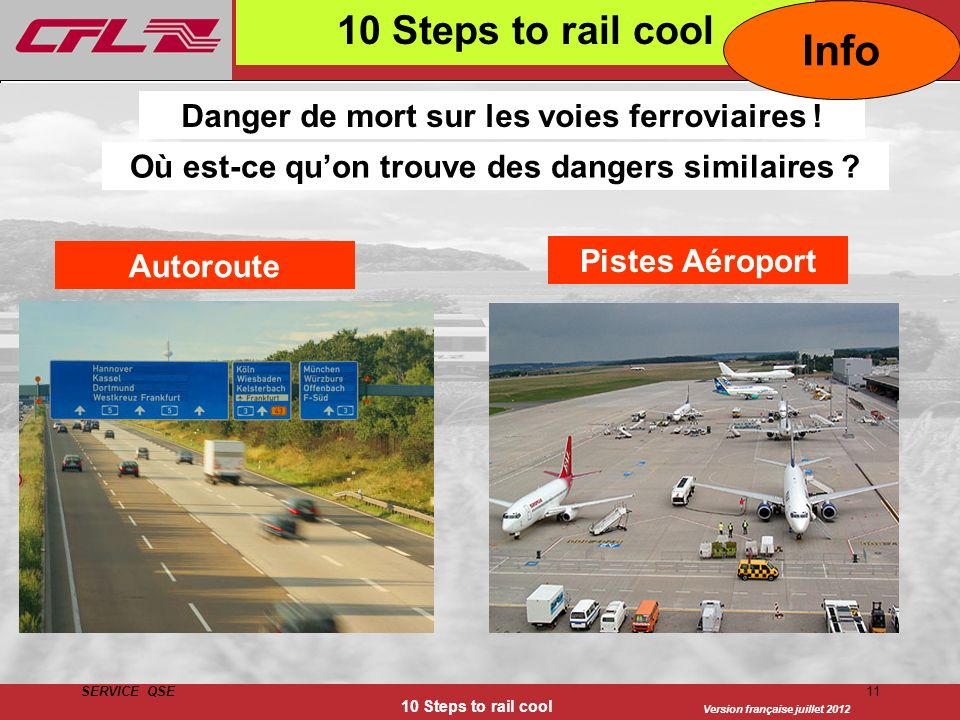 Info 10 Steps to rail cool Danger de mort sur les voies ferroviaires !