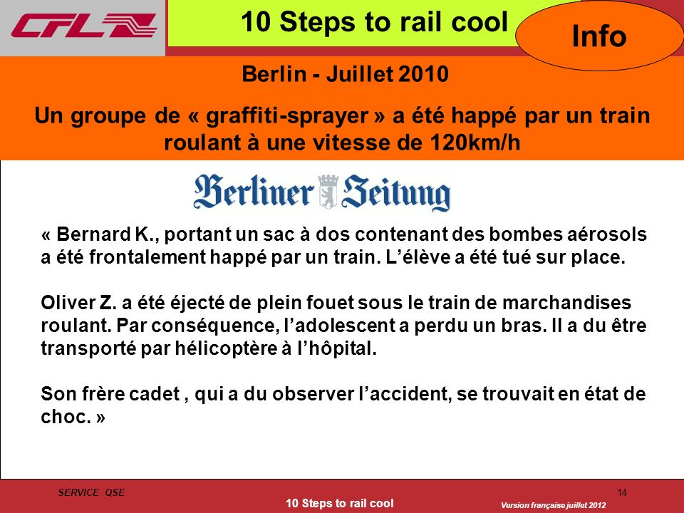 Info 10 Steps to rail cool Berlin - Juillet 2010