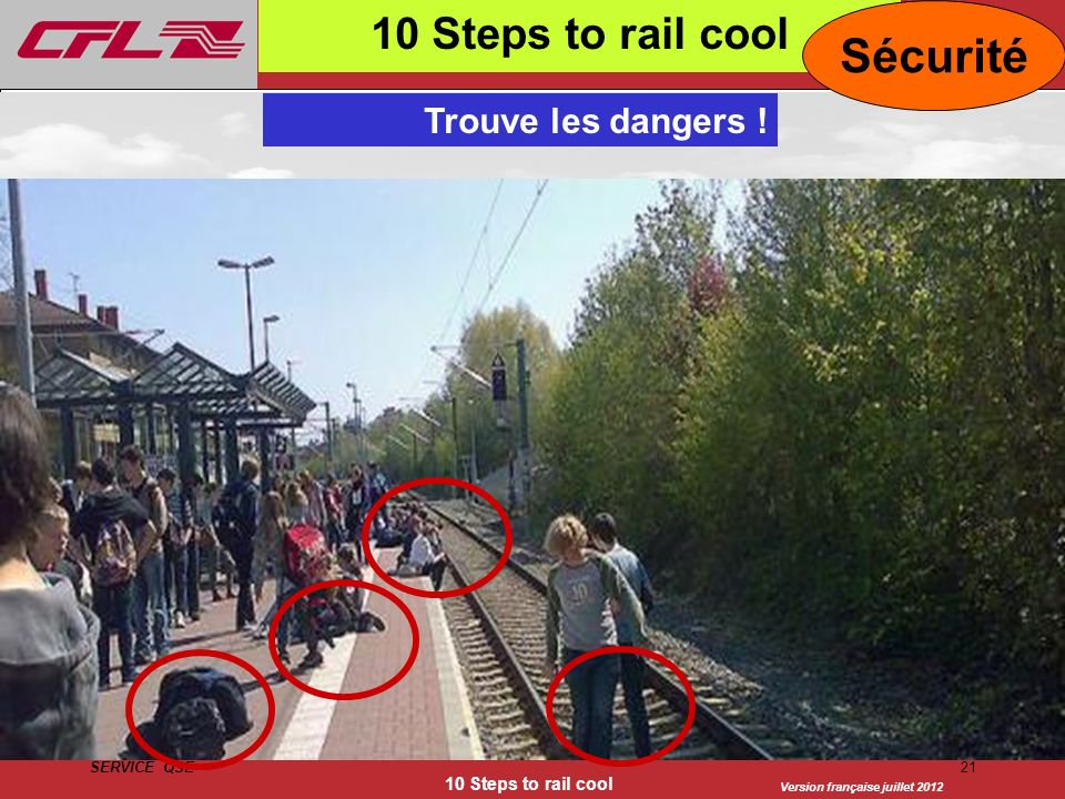 Sécurité 10 Steps to rail cool Trouve les dangers !