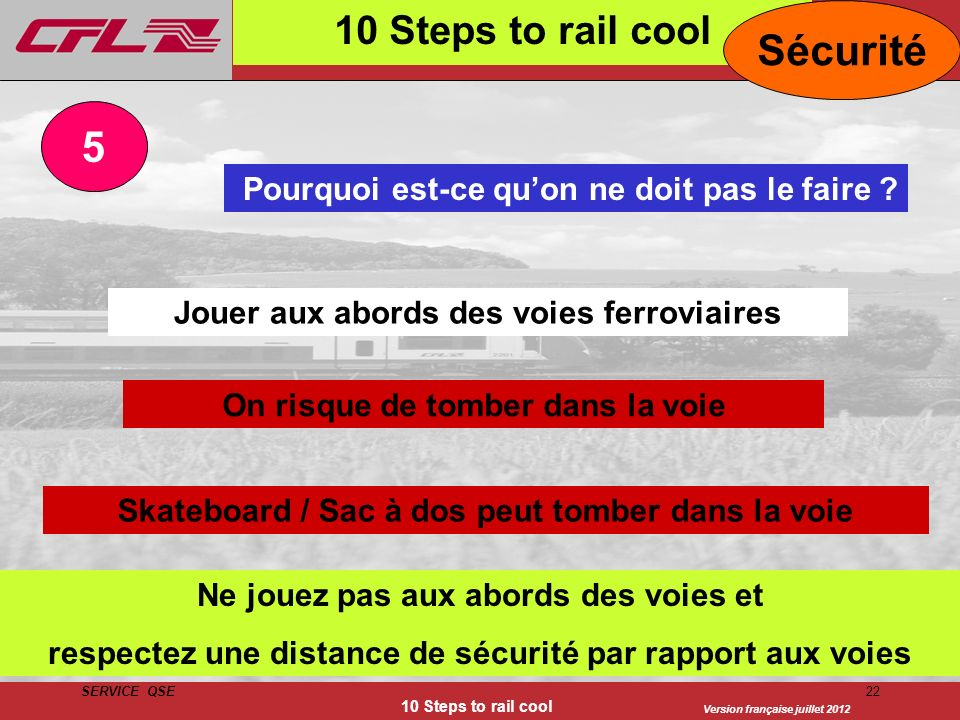Sécurité 5 10 Steps to rail cool