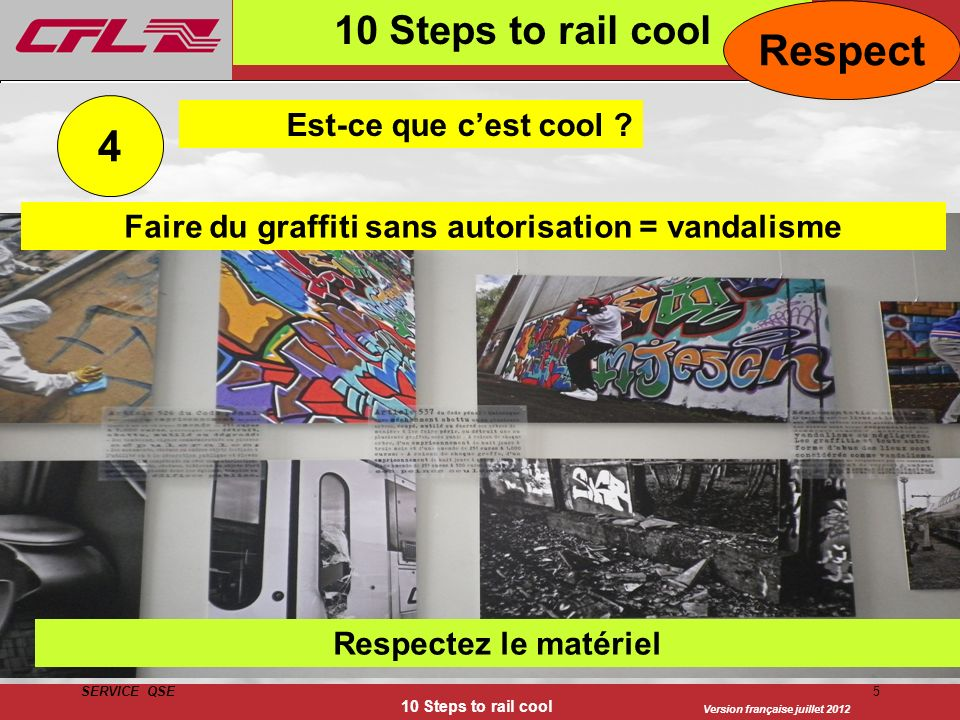 Faire du graffiti sans autorisation = vandalisme
