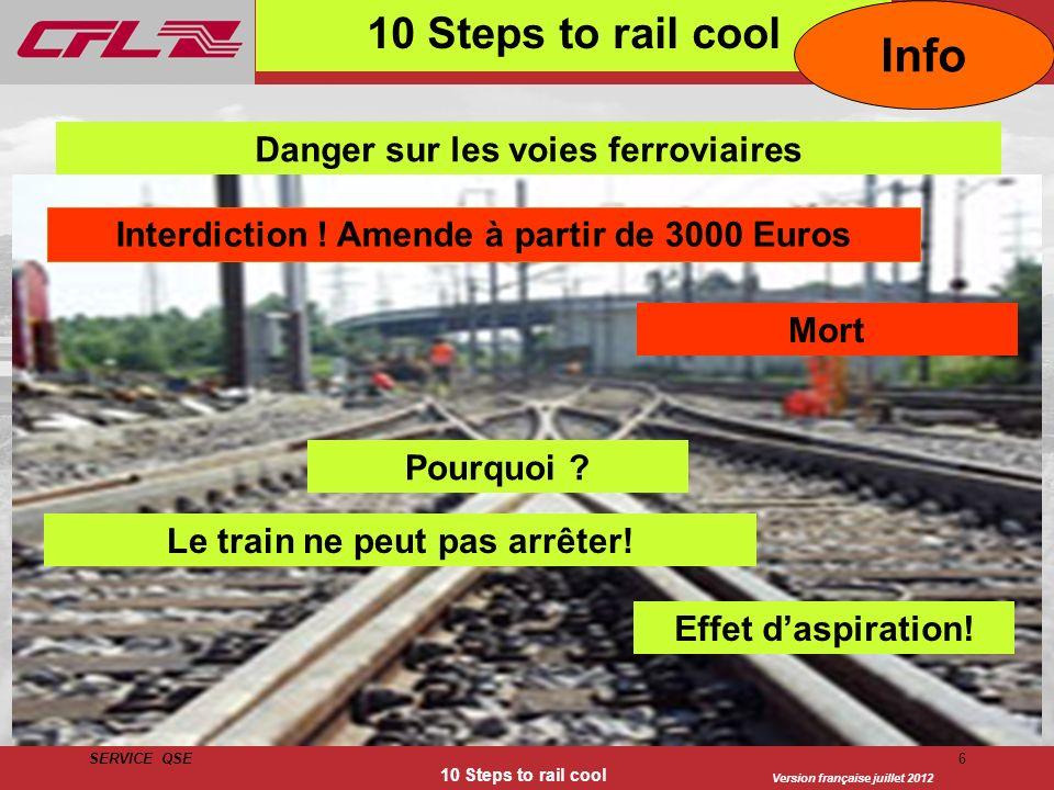Info 10 Steps to rail cool Danger sur les voies ferroviaires