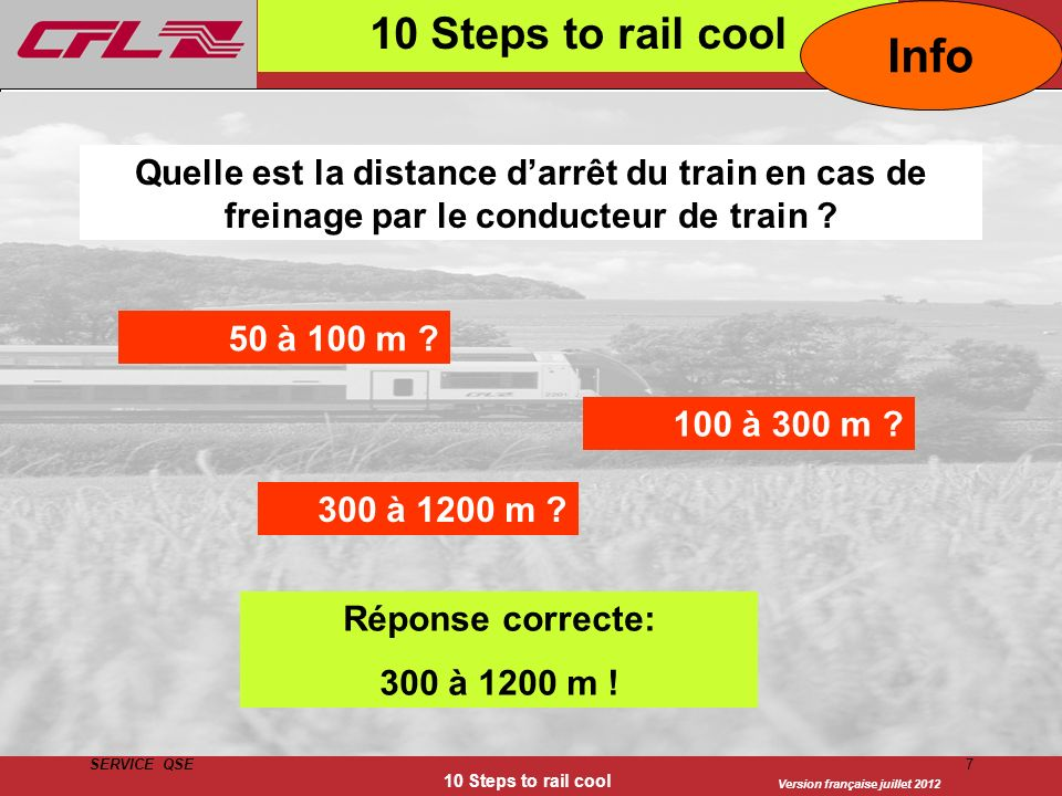 10 Steps to rail cool Info. Quelle est la distance d'arrêt du train en cas de freinage par le conducteur de train