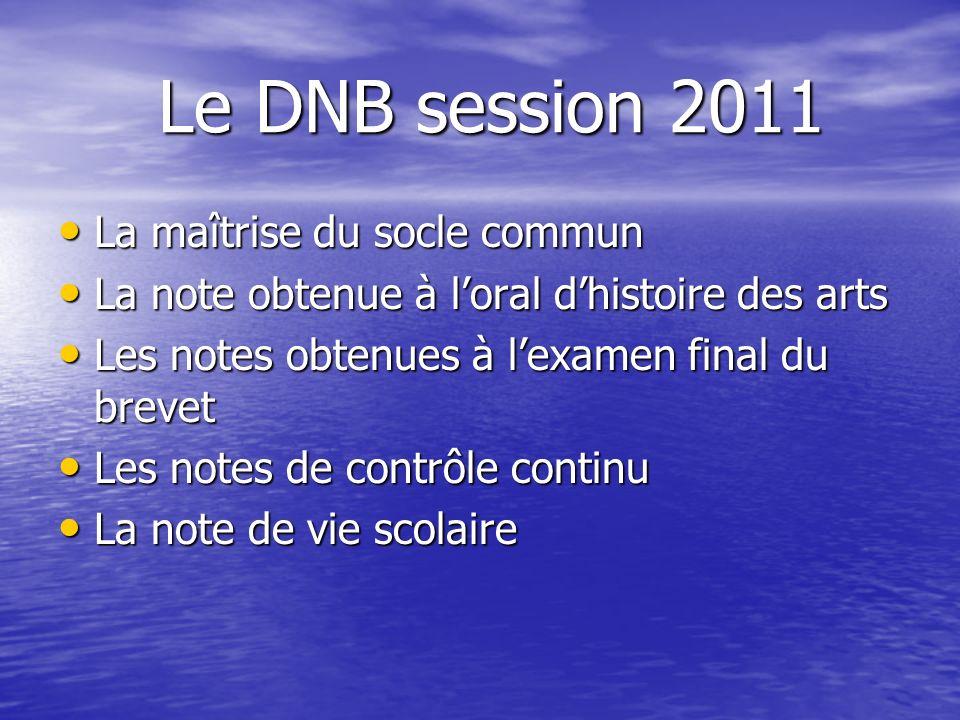 Le DNB session 2011 La maîtrise du socle commun