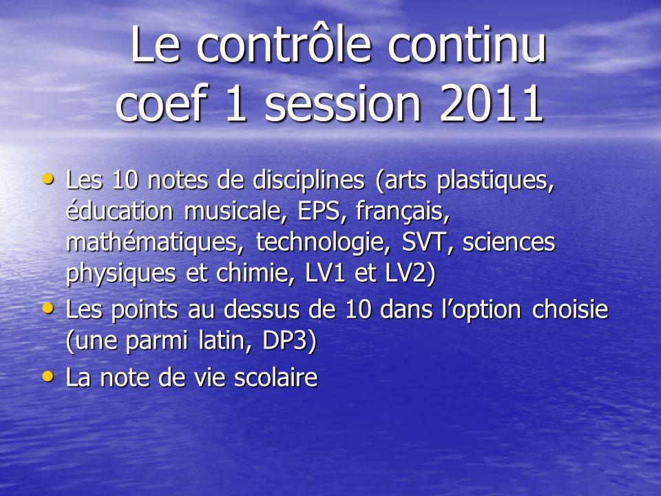 Le contrôle continu coef 1 session 2011