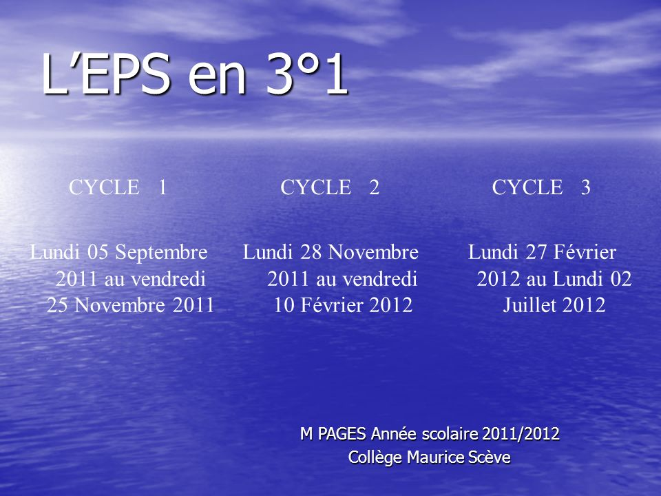 L'EPS en 3°1 CYCLE 1 CYCLE 2 CYCLE 3