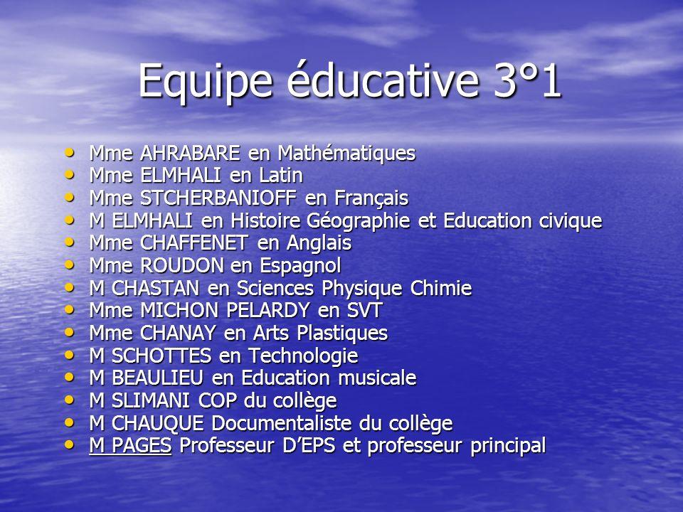 Equipe éducative 3°1 Mme AHRABARE en Mathématiques