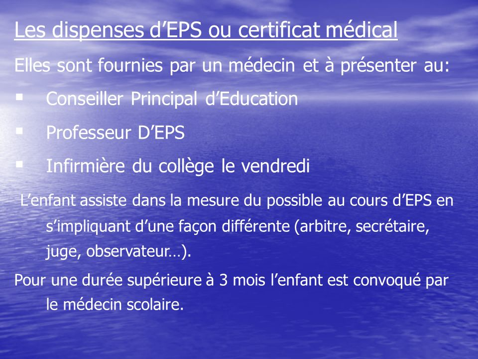 Les dispenses d'EPS ou certificat médical