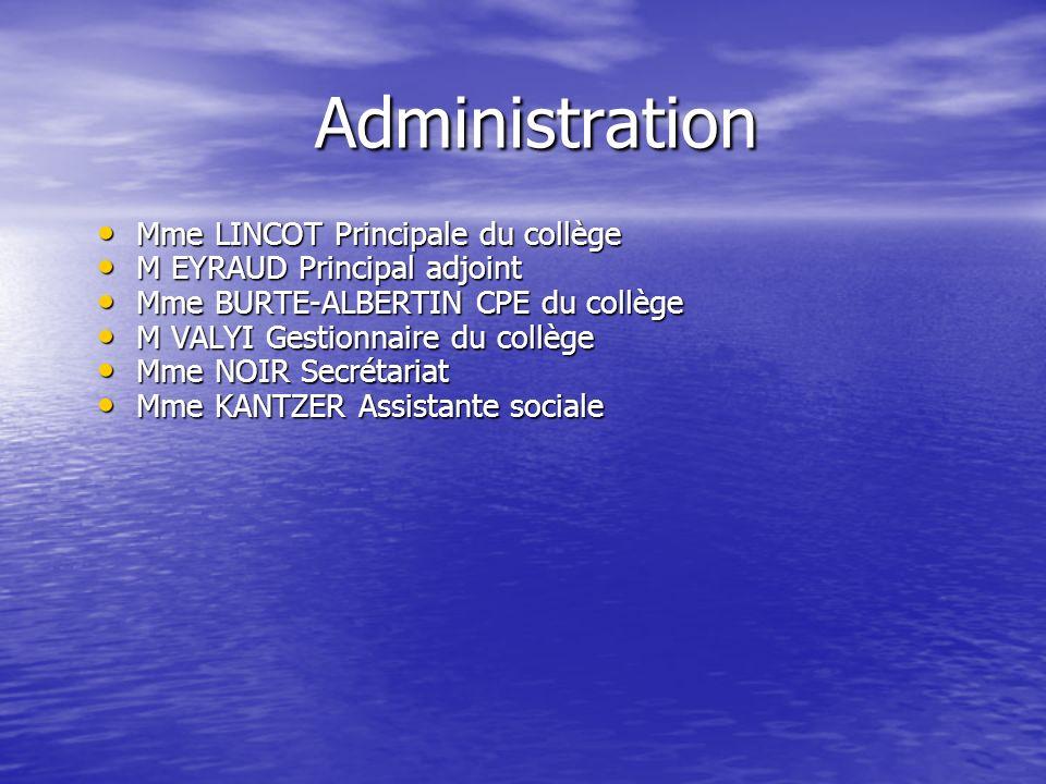 Administration Mme LINCOT Principale du collège