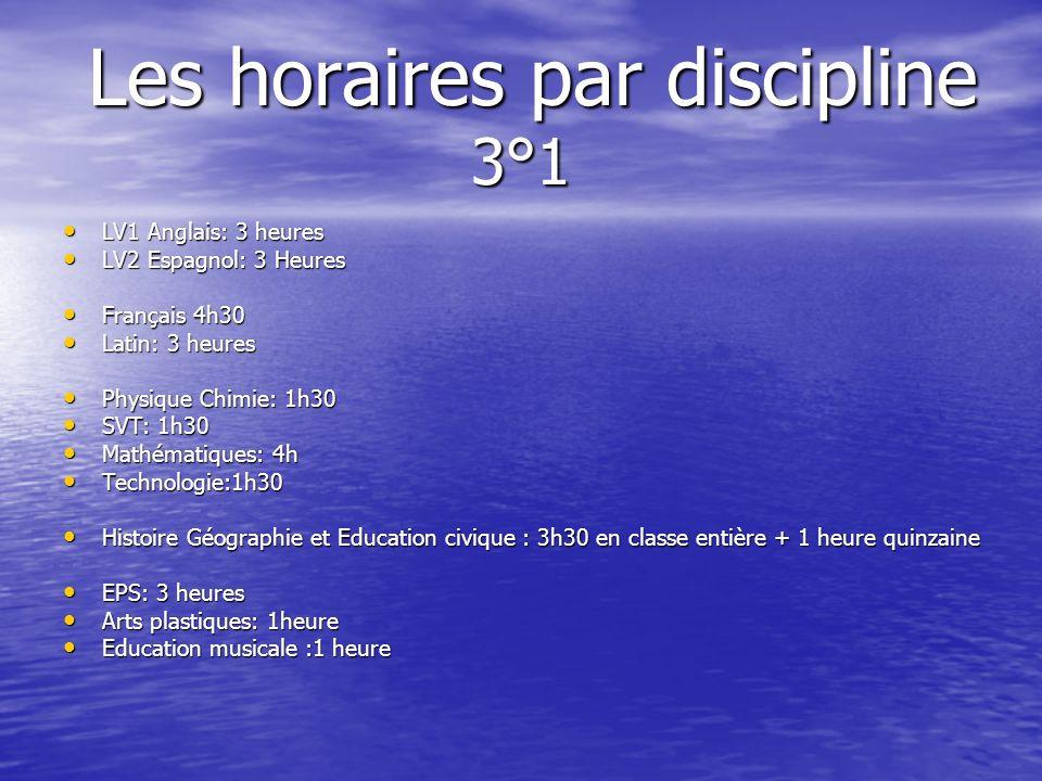 Les horaires par discipline 3°1