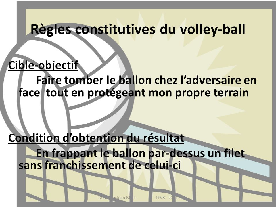 Règles constitutives du volley-ball