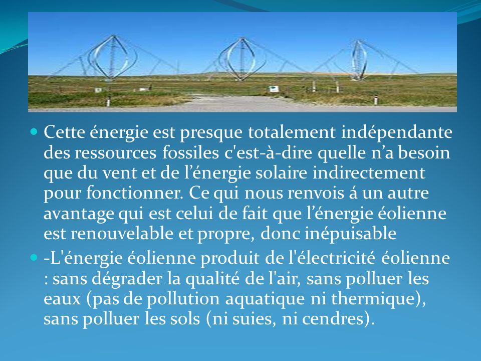 Cette énergie est presque totalement indépendante des ressources fossiles c est-à-dire quelle n'a besoin que du vent et de l'énergie solaire indirectement pour fonctionner. Ce qui nous renvois á un autre avantage qui est celui de fait que l'énergie éolienne est renouvelable et propre, donc inépuisable