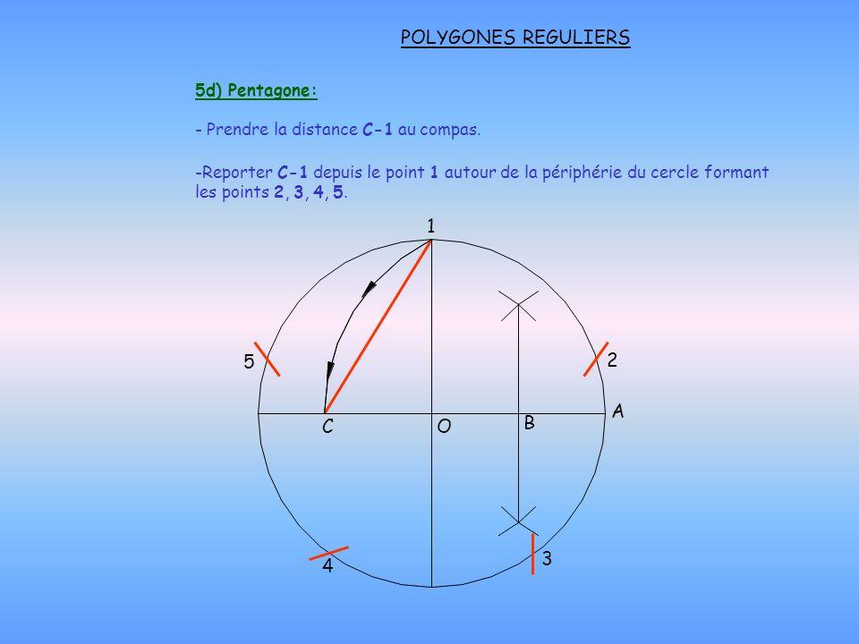 POLYGONES REGULIERS 1 5 2 A C O B 3 4 5d) Pentagone: