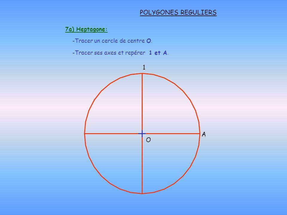 POLYGONES REGULIERS 1 A O 7a) Heptagone: Tracer un cercle de centre O.