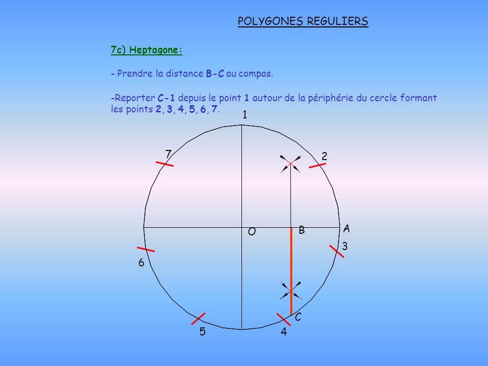 POLYGONES REGULIERS 1 7 2 A O B 3 6 5 4 C 7c) Heptagone: