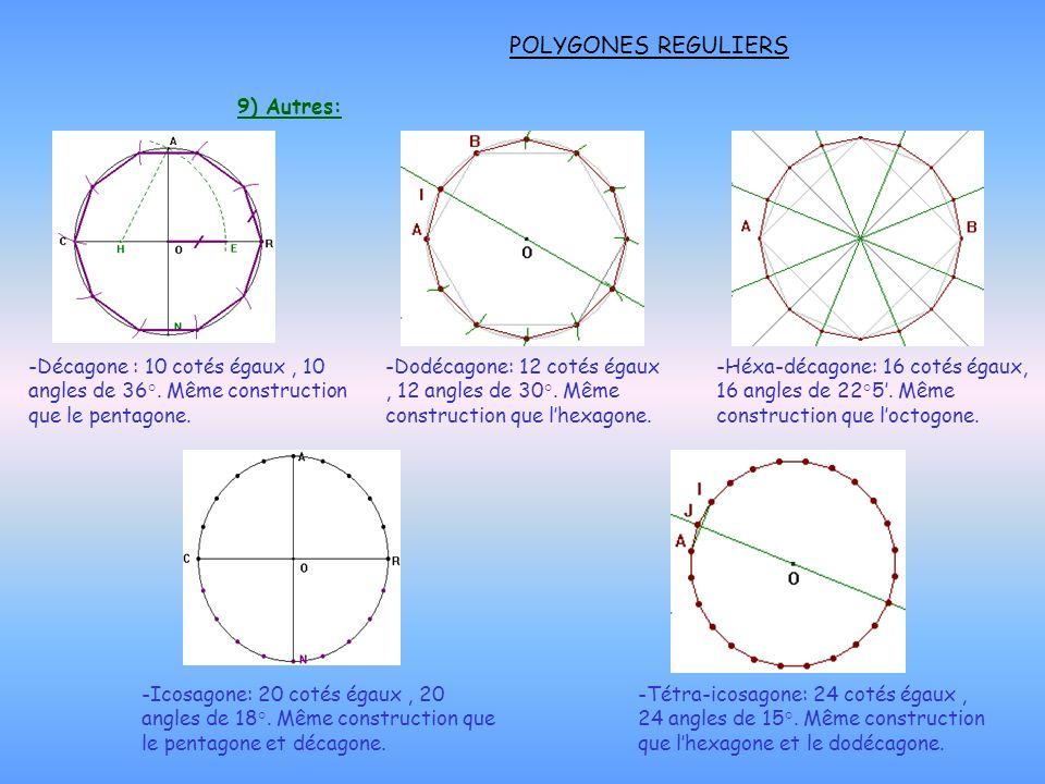 POLYGONES REGULIERS 9) Autres: